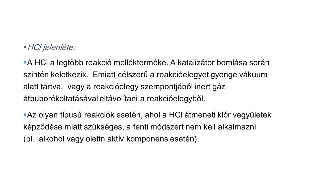 HCl jelenléte: