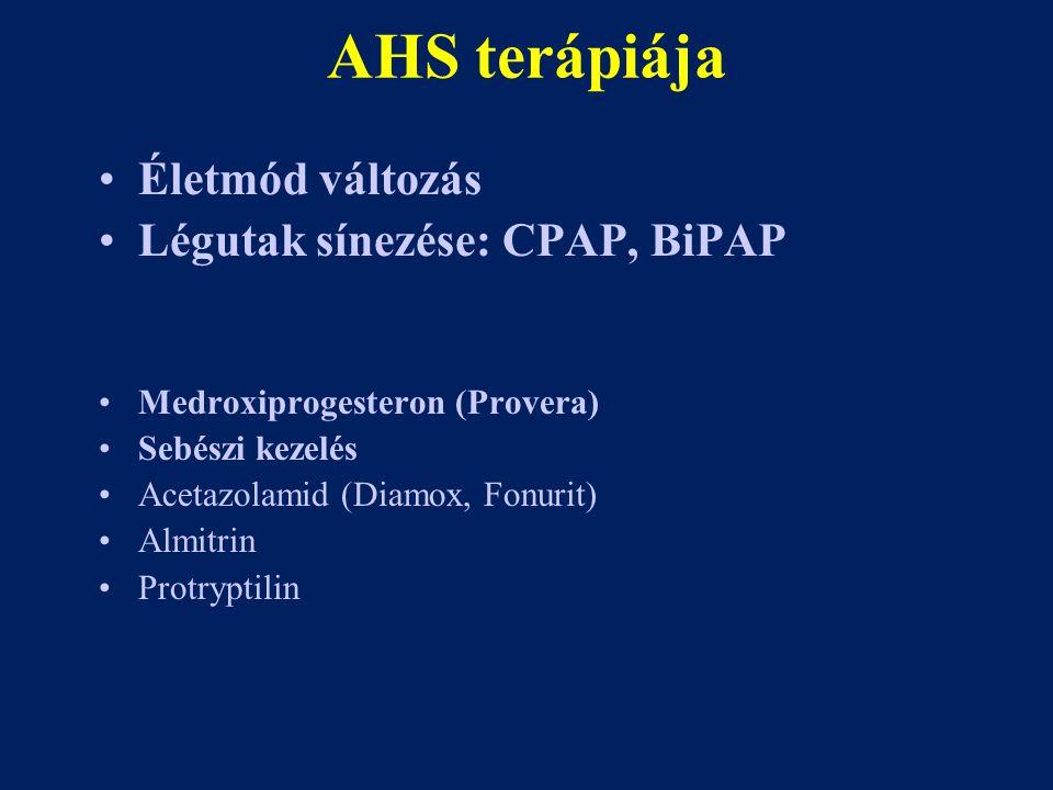 AHS terápiája Életmód változás Légutak sínezése: CPAP, BiPAP