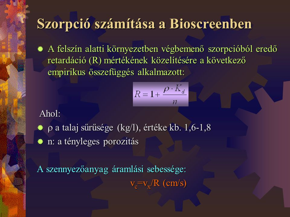 Szorpció számítása a Bioscreenben