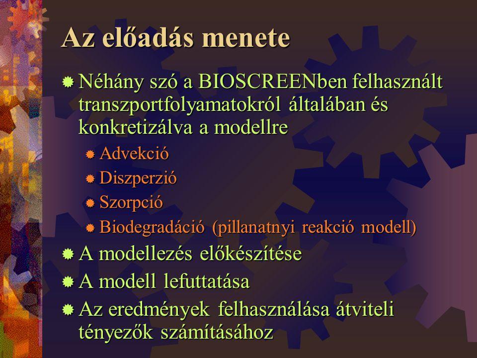 Az előadás menete Néhány szó a BIOSCREENben felhasznált transzportfolyamatokról általában és konkretizálva a modellre.