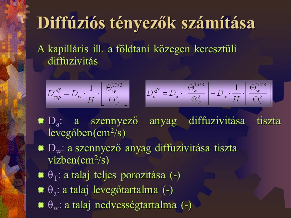 Diffúziós tényezők számítása