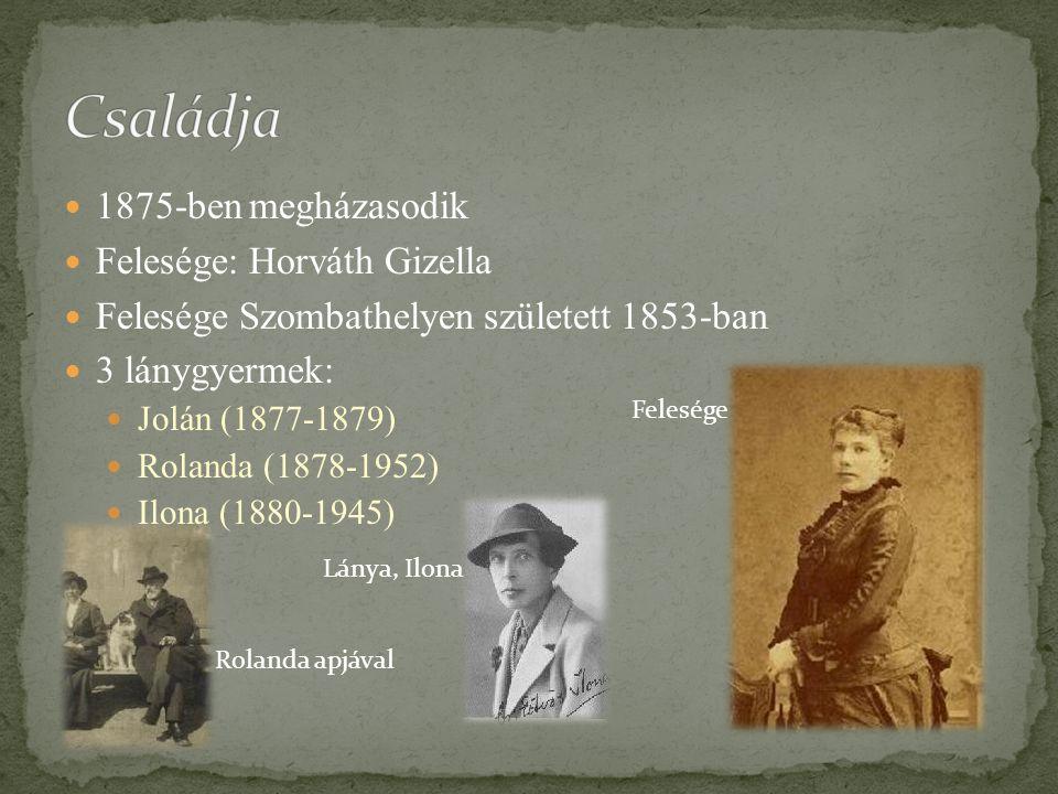 Családja 1875-ben megházasodik Felesége: Horváth Gizella