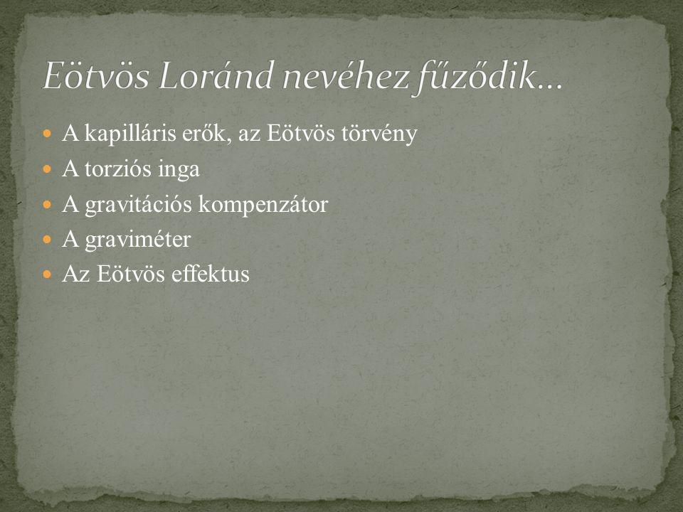 Eötvös Loránd nevéhez fűződik…
