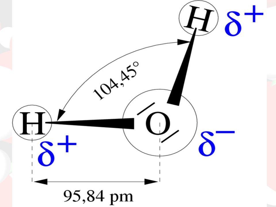 H2O szerkezete: Oxigén atom Hidrogén atomok