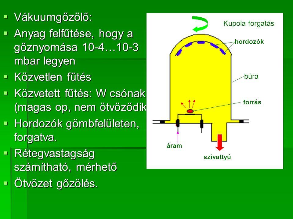 Anyag felfűtése, hogy a gőznyomása 10-4…10-3 mbar legyen