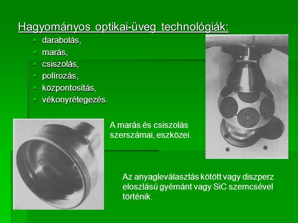 Hagyományos optikai-üveg technológiák: