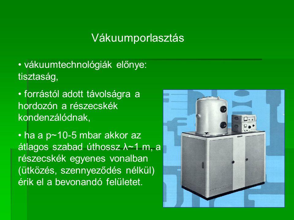 Vákuumporlasztás vákuumtechnológiák előnye: tisztaság,