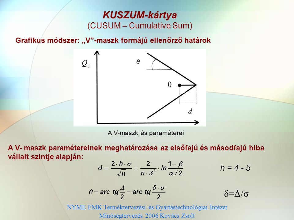 KUSZUM-kártya δ=Δ/σ (CUSUM – Cumulative Sum) h = 4 - 5