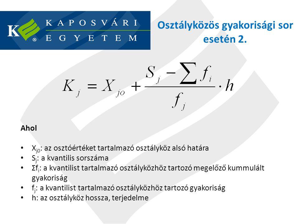 Osztályközös gyakorisági sor esetén 2.