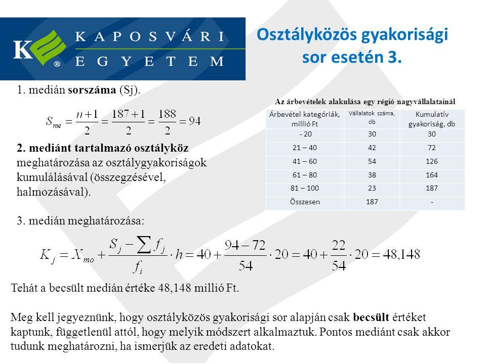 Osztályközös gyakorisági sor esetén 3.