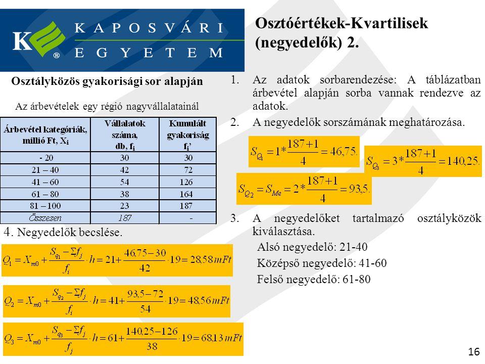 Osztóértékek-Kvartilisek (negyedelők) 2.