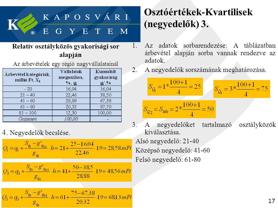 Osztóértékek-Kvartilisek (negyedelők) 3.