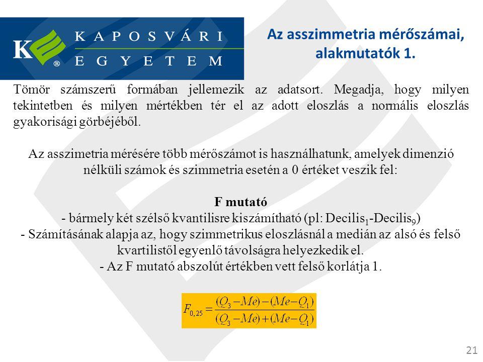 Az asszimmetria mérőszámai, alakmutatók 1.