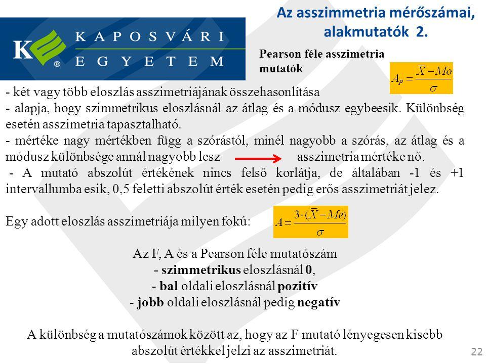 Az asszimmetria mérőszámai, alakmutatók 2.