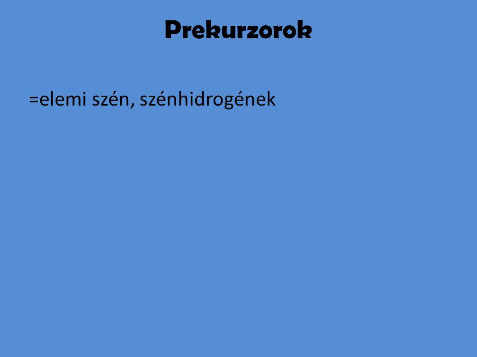 Prekurzorok =elemi szén, szénhidrogének