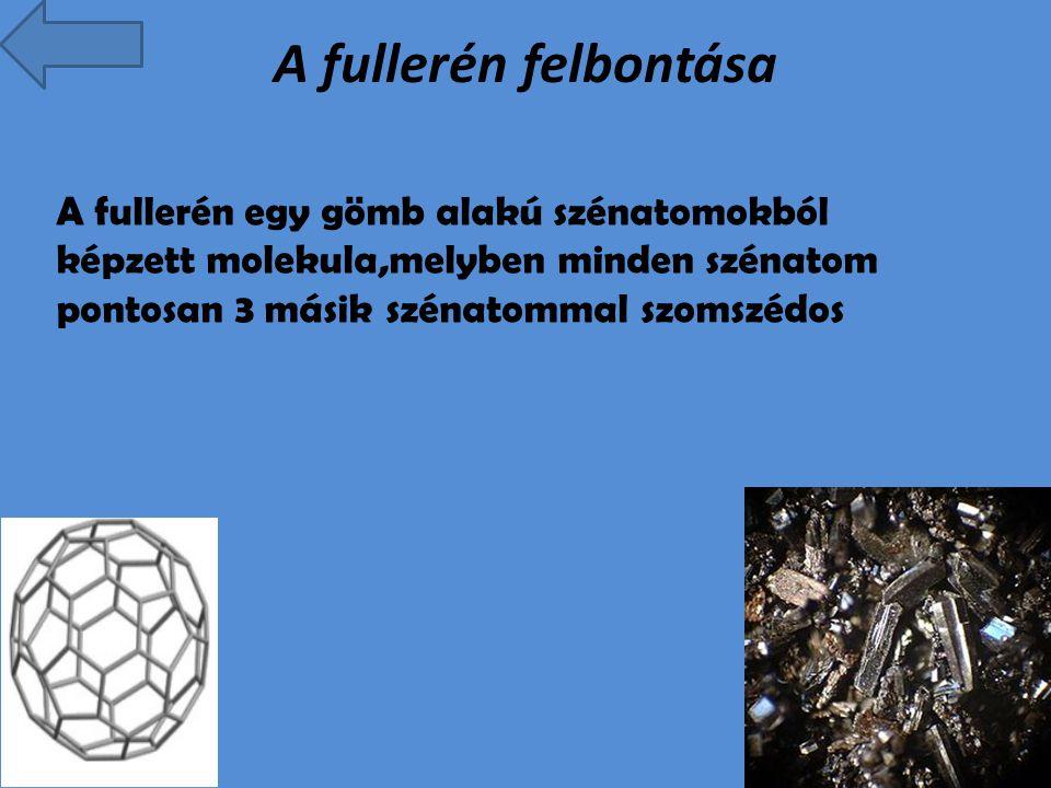 A fullerén felbontása A fullerén egy gömb alakú szénatomokból képzett molekula,melyben minden szénatom pontosan 3 másik szénatommal szomszédos.