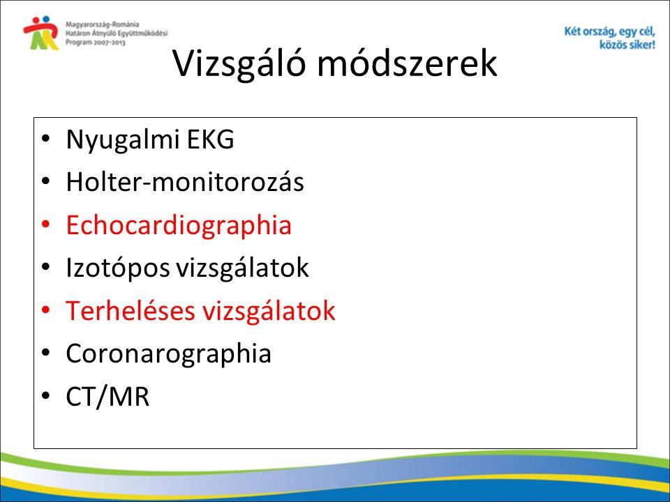 Vizsgáló módszerek Nyugalmi EKG Holter-monitorozás Echocardiographia