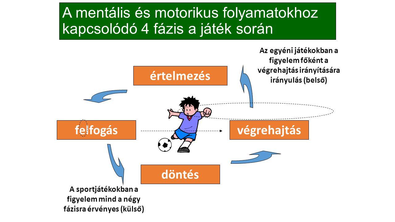 A mentális és motorikus folyamatokhoz kapcsolódó 4 fázis a játék során