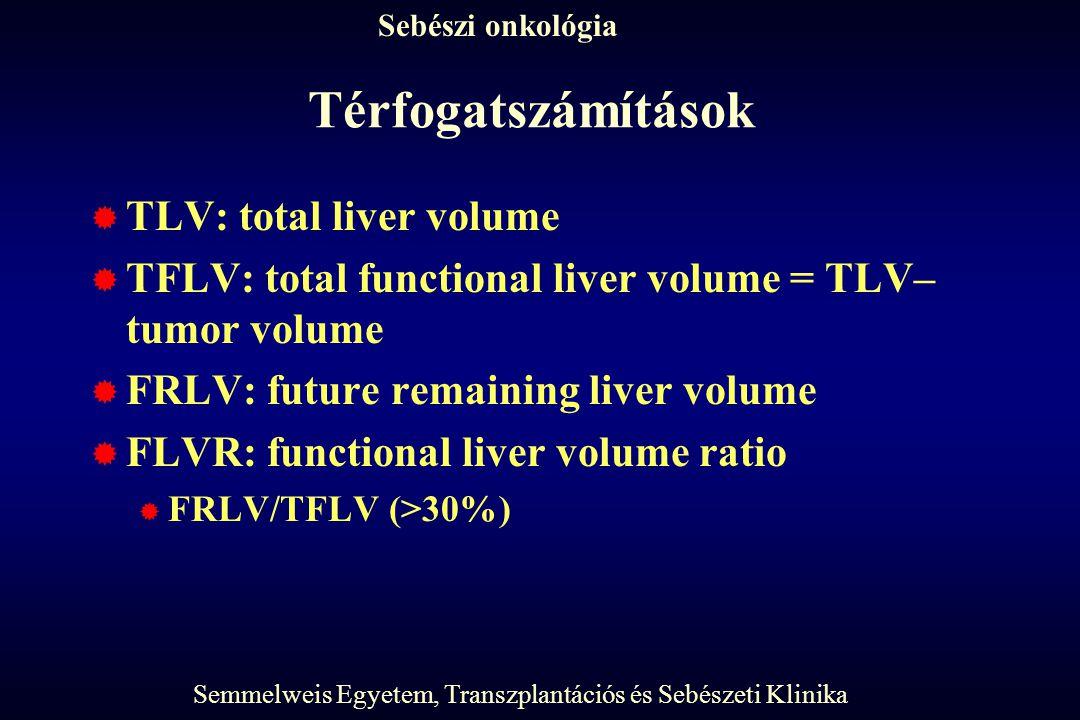 Térfogatszámítások TLV: total liver volume