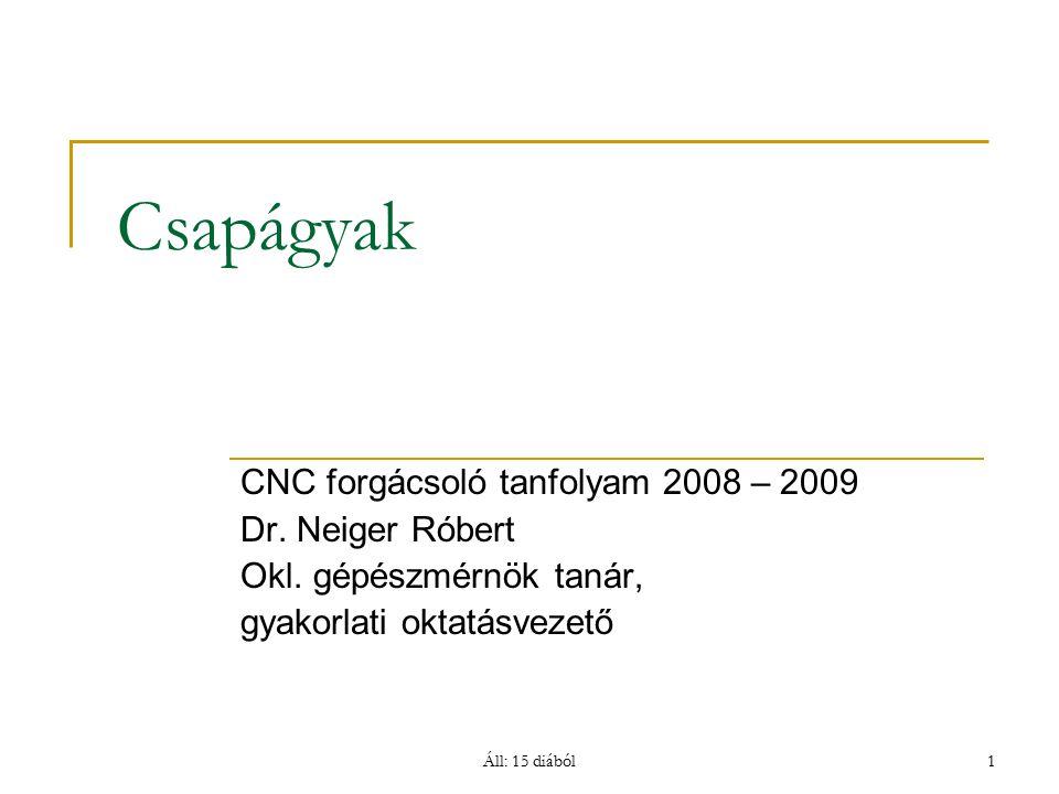 Csapágyak CNC forgácsoló tanfolyam 2008 – 2009 Dr. Neiger Róbert
