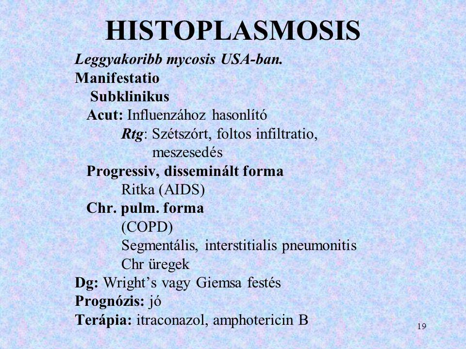 HISTOPLASMOSIS Leggyakoribb mycosis USA-ban. Manifestatio Subklinikus