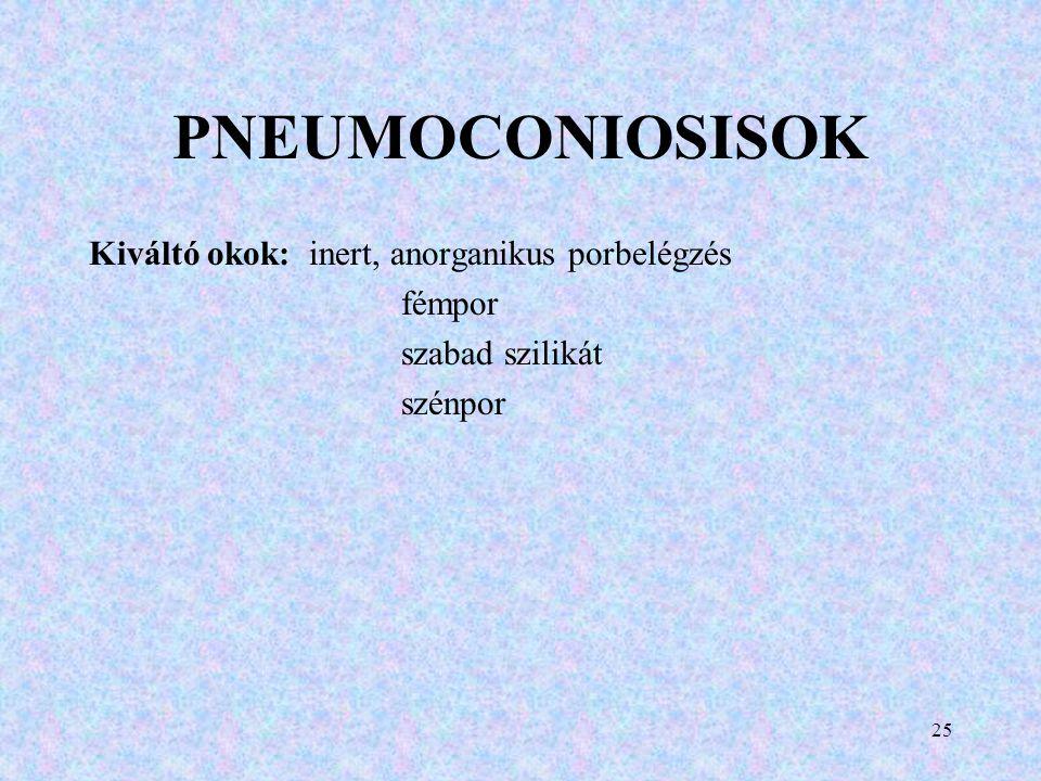 PNEUMOCONIOSISOK Kiváltó okok: inert, anorganikus porbelégzés fémpor