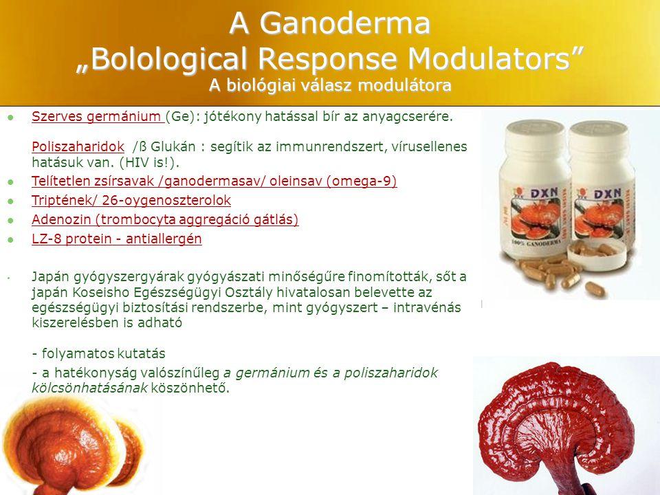 "A Ganoderma ""Bolological Response Modulators A biológiai válasz modulátora"