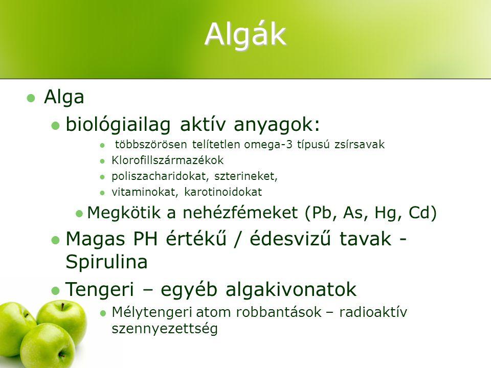 Algák Alga biológiailag aktív anyagok: