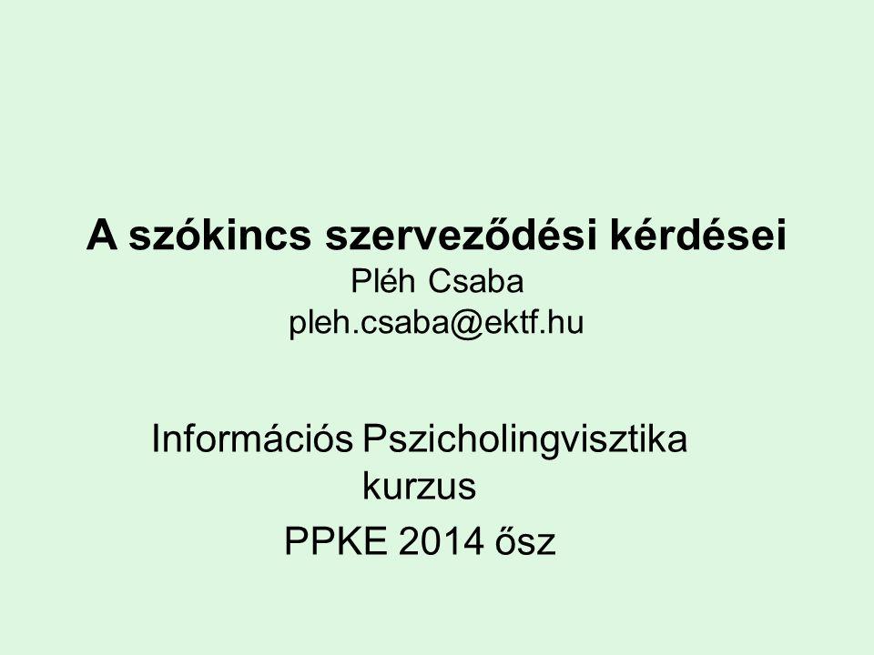 A szókincs szerveződési kérdései Pléh Csaba pleh.csaba@ektf.hu