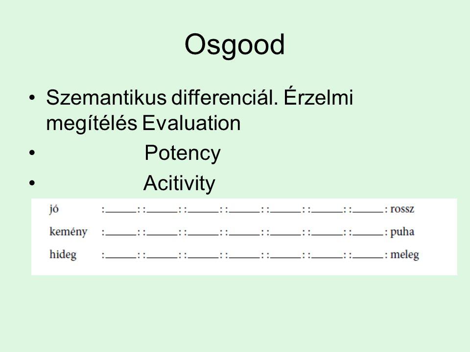 Osgood Szemantikus differenciál. Érzelmi megítélés Evaluation Potency