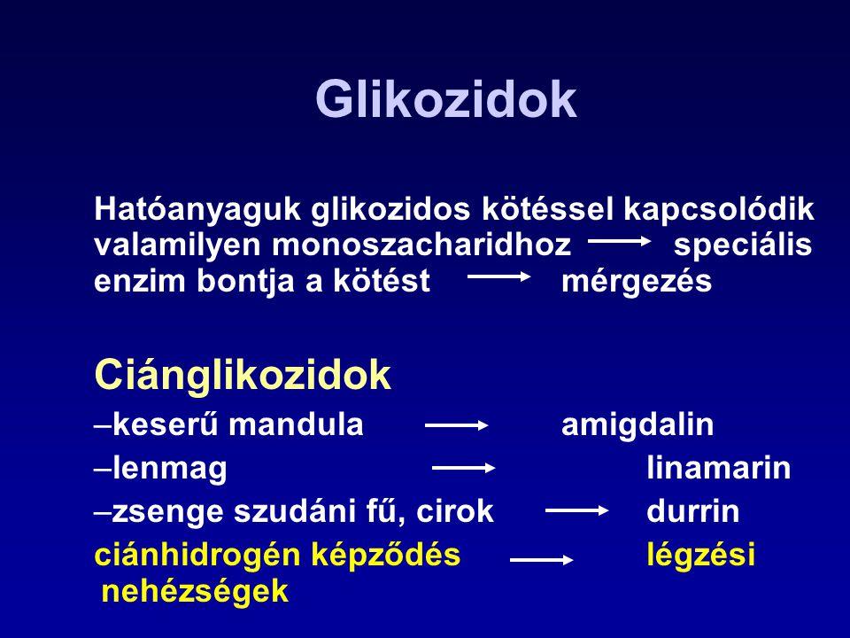 Glikozidok Ciánglikozidok Hatóanyaguk glikozidos kötéssel kapcsolódik