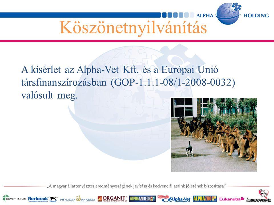 Köszönetnyilvánítás A kísérlet az Alpha-Vet Kft.