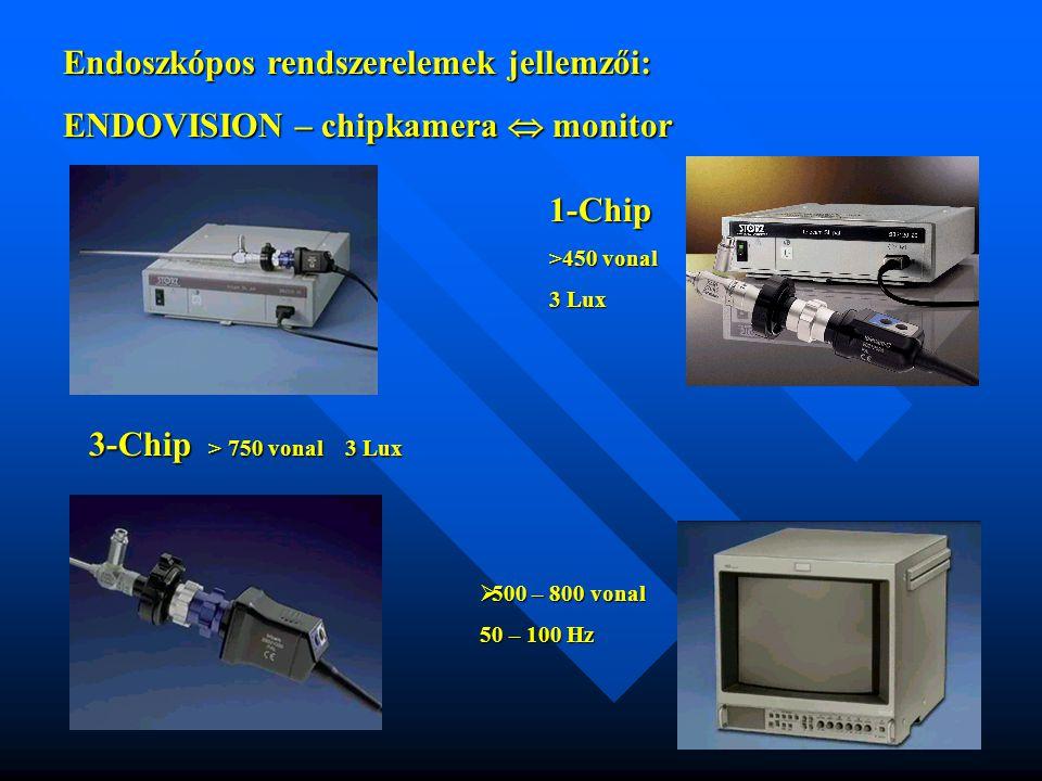 Endoszkópos rendszerelemek jellemzői: