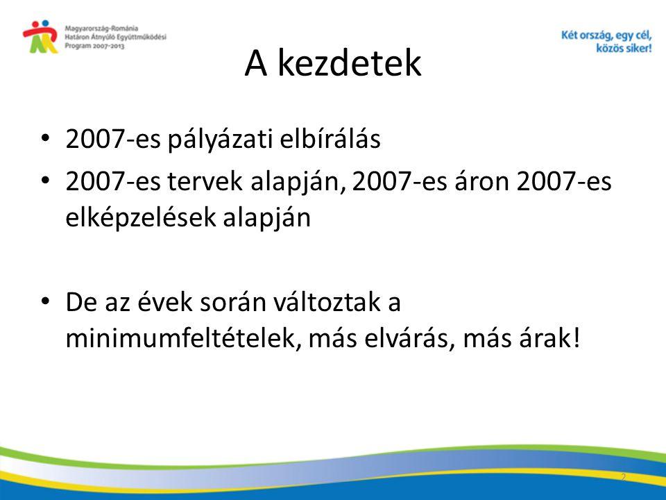 A kezdetek 2007-es pályázati elbírálás