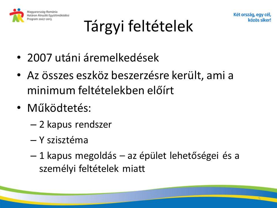Tárgyi feltételek 2007 utáni áremelkedések