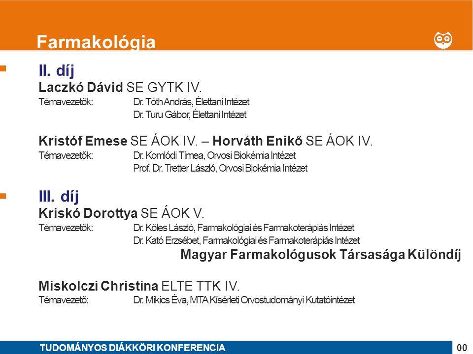 Farmakológia II. díj III. díj Laczkó Dávid SE GYTK IV.