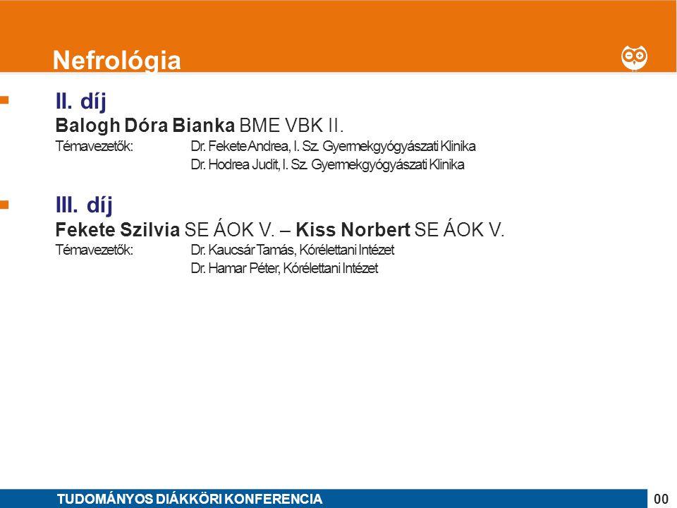 Nefrológia II. díj III. díj Balogh Dóra Bianka BME VBK II.