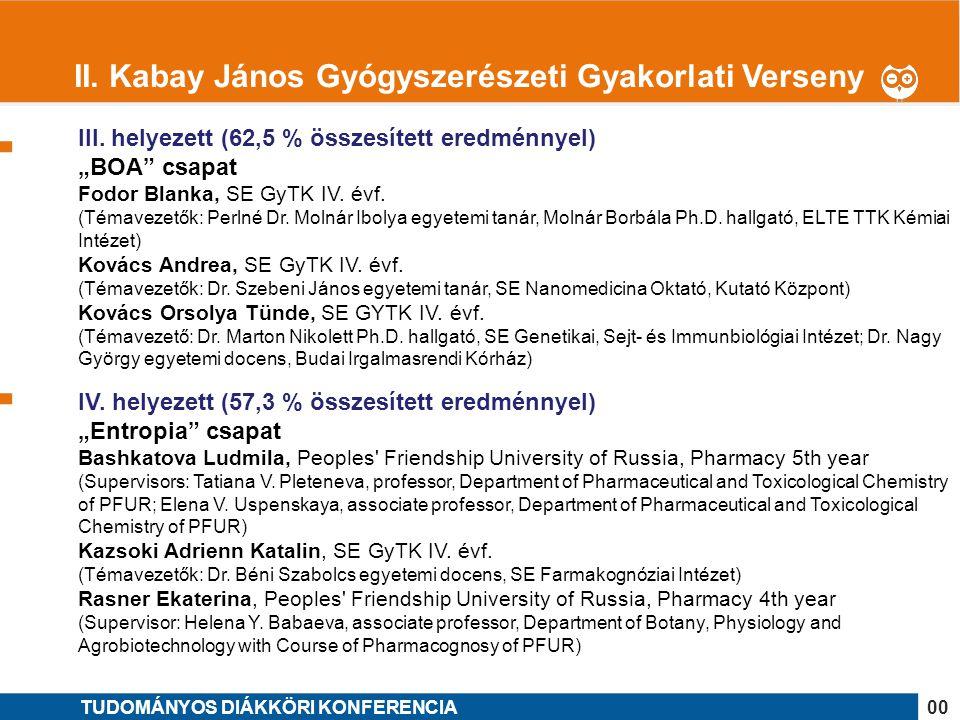 II. Kabay János Gyógyszerészeti Gyakorlati Verseny