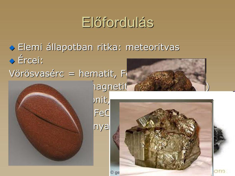 Előfordulás Elemi állapotban ritka: meteoritvas Ércei: