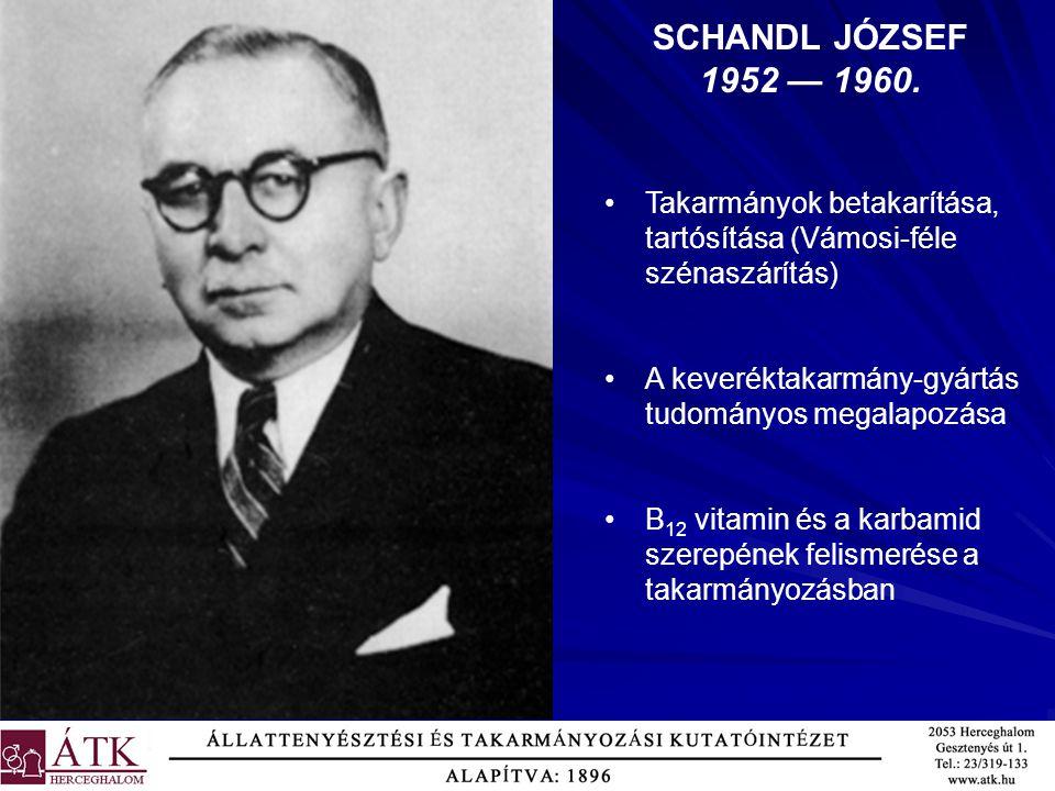 SCHANDL JÓZSEF 1952 — 1960. Takarmányok betakarítása, tartósítása (Vámosi-féle szénaszárítás) A keveréktakarmány-gyártás tudományos megalapozása.