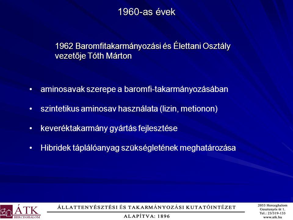 1960-as évek 1962 Baromfitakarmányozási és Élettani Osztály