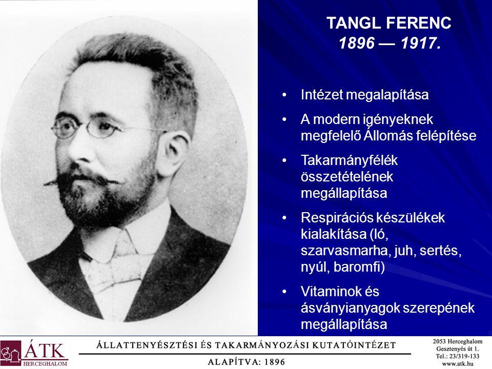 TANGL FERENC 1896 — 1917. Intézet megalapítása