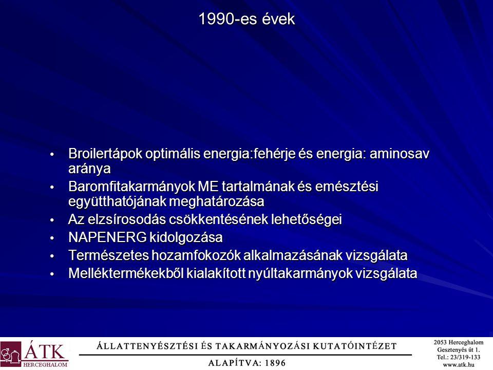 1990-es évek Broilertápok optimális energia:fehérje és energia: aminosav aránya.