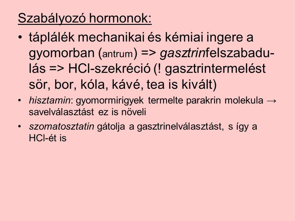 Szabályozó hormonok: