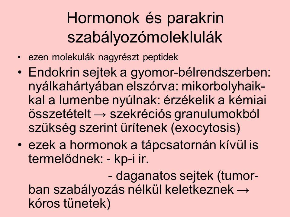 Hormonok és parakrin szabályozómoleklulák