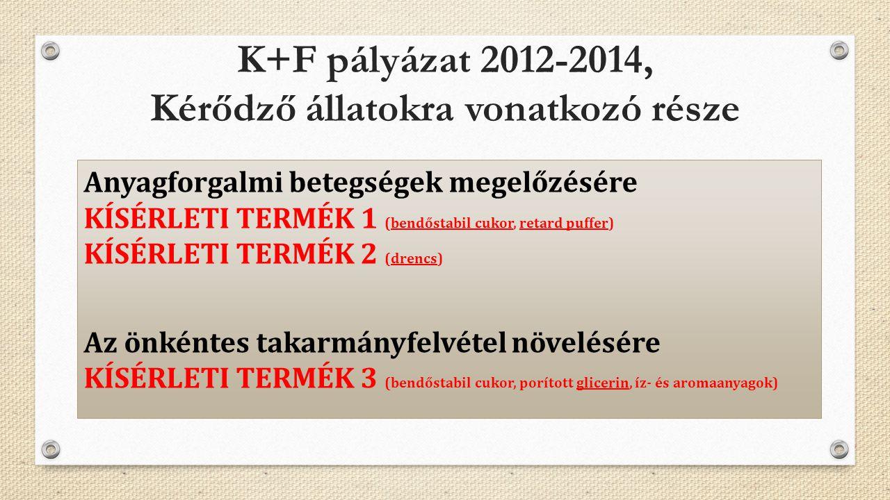 K+F pályázat 2012-2014, Kérődző állatokra vonatkozó része