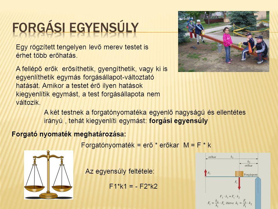 Forgási egyensúly Egy rögzített tengelyen levő merev testet is érhet több erőhatás.