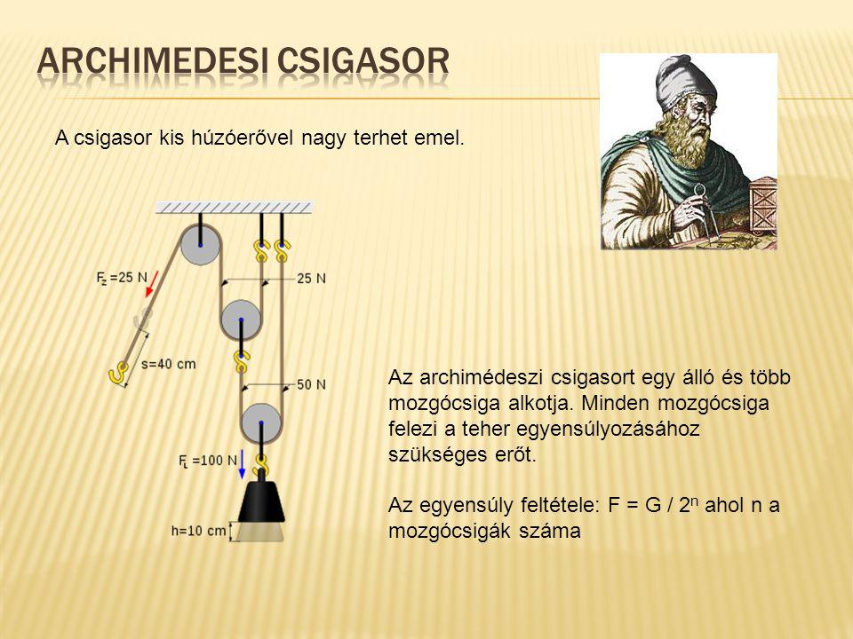 Archimedesi csigasor A csigasor kis húzóerővel nagy terhet emel.