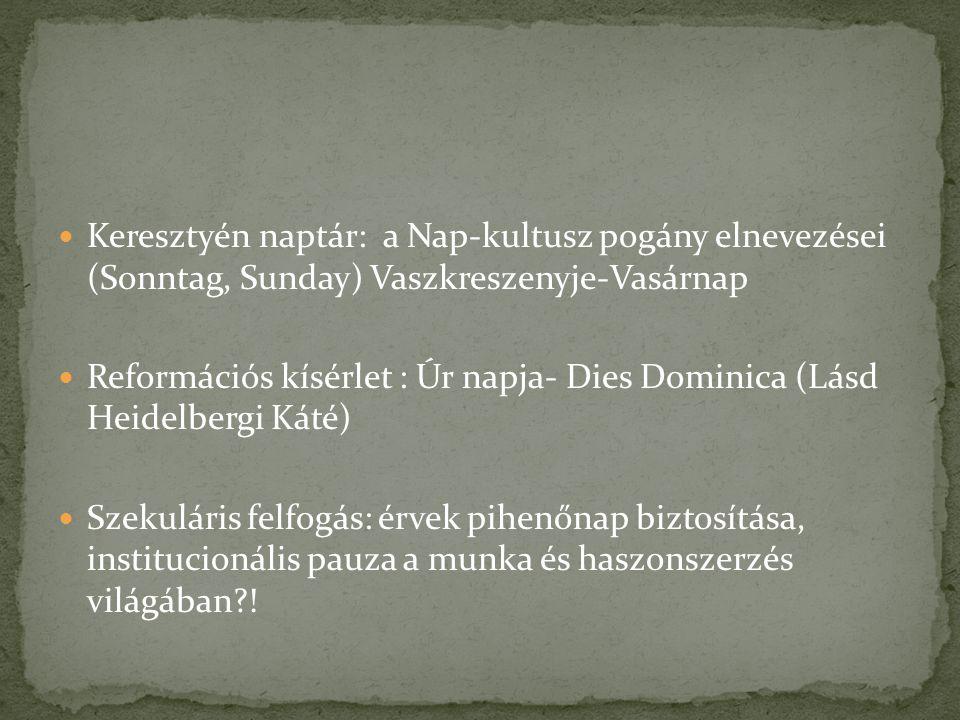 Keresztyén naptár: a Nap-kultusz pogány elnevezései (Sonntag, Sunday) Vaszkreszenyje-Vasárnap