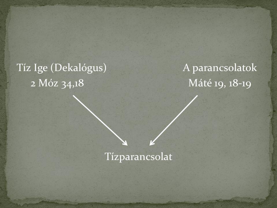 Tíz Ige (Dekalógus) A parancsolatok 2 Móz 34,18 Máté 19, 18-19